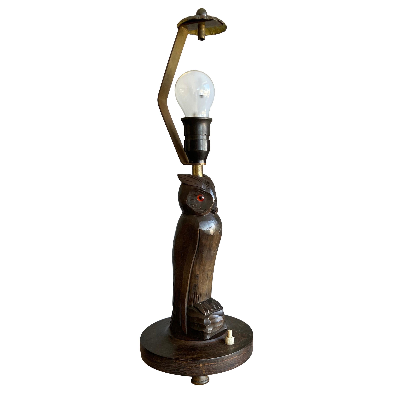 Rare Antique Black Forest Hand Carved Wood Owl Sculpture Table Lamp or Desk Lamp