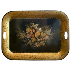 Early 20th Century Black Tole Tray with Fruit Detail, Gilt Border