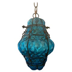 Early 20th Century Blue Glass and Steel Hand Blown Bubble Glass Lantern