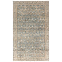 Early 20th Century Blue Persian Malayer Handmade Wool Rug