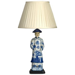 Early 20th Century Blue and White Porcelain Lamp