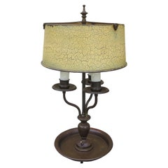 Early 20th Century Bouillotte Lamp with Old Tole Shade, Signed RMC