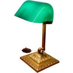 Early 20th Century Brass and Green Glass  Barrister's Desk Lamp