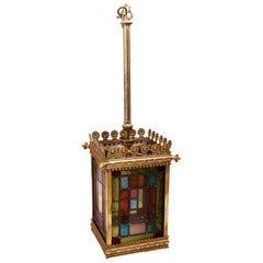 Early 20th Century Brass and Stained Glass Hall Lantern