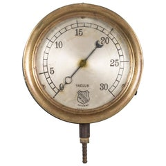 Early 20th Century Brass and Steel Pressure Gauge, circa 1920