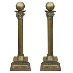 Early 20th Century Brass Andirons with Ball Finials