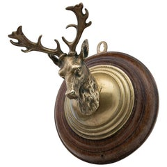 Early 20th Century Brass Deer Head Mounted on a Wooden Plaque