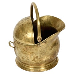 Helmet-shaped brass coal bucket from the early 1900s, Italy, 1930s