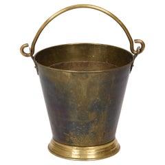 Early 20th Century Brass Italian Ice Bucket with Heavy Handle, 1930s