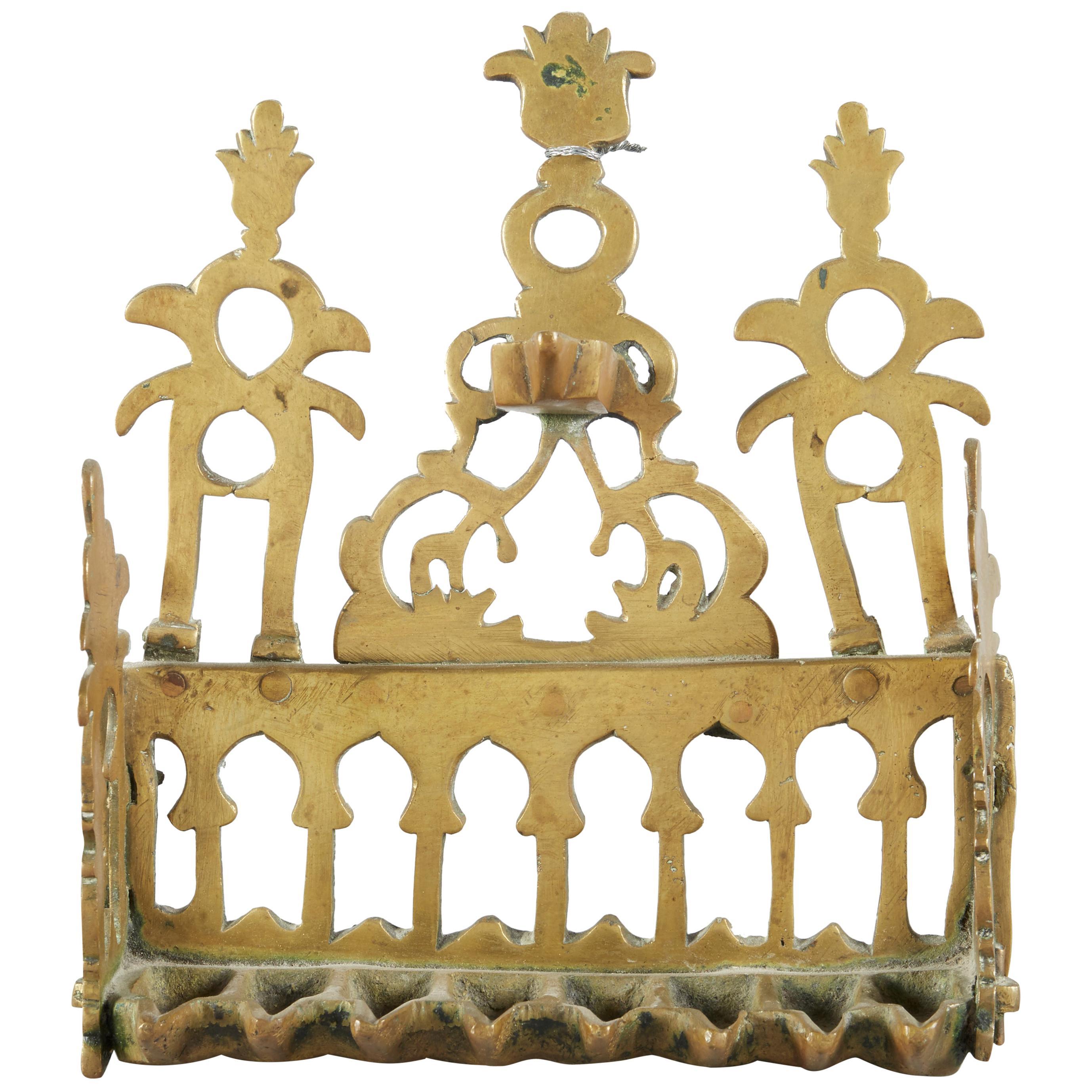 Early 20th Century North African Brass Hanukkah Lamp Menorah