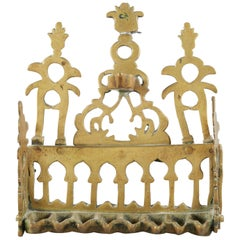 Early 20th Century North African Brass Hanukkah Lamp Menorah