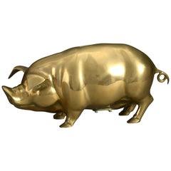 Early 20th Century Brass Piggy Bank