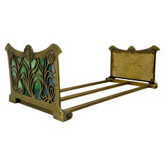 Early 20th Century Brass & Stained Glass Folding / Expanding Book Holder C.1910
