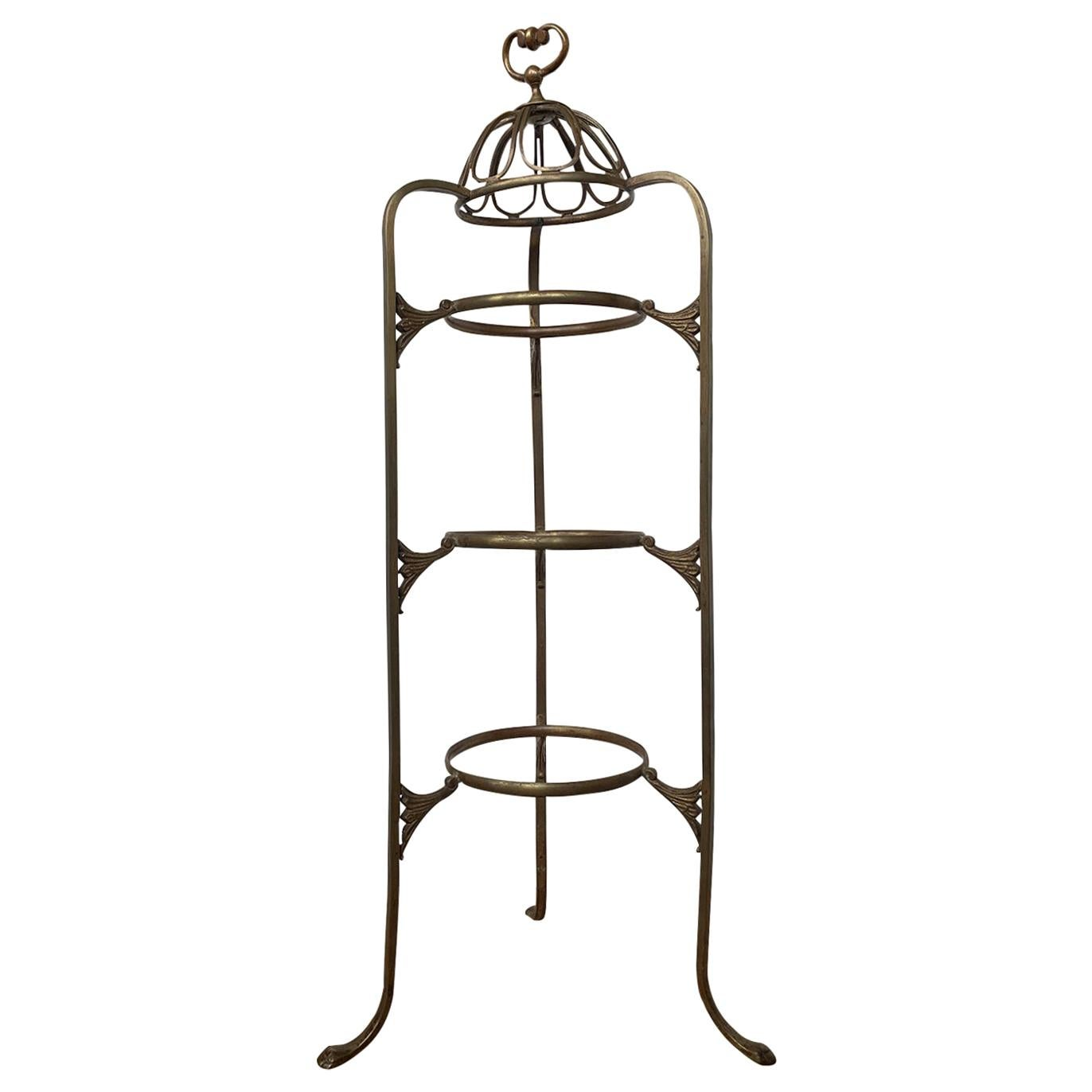 Early 20th Century Brass Tiered Plate Rack or Dessert Stand