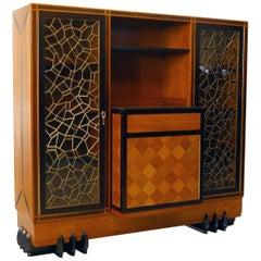 Early 20th Century Breakfront Buffet Cabinet Cupboard Teak Ebony Glass Mosaic