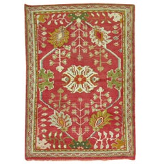 Early 20th Century Bright Red Green Antique Turkish Oushak Carpet