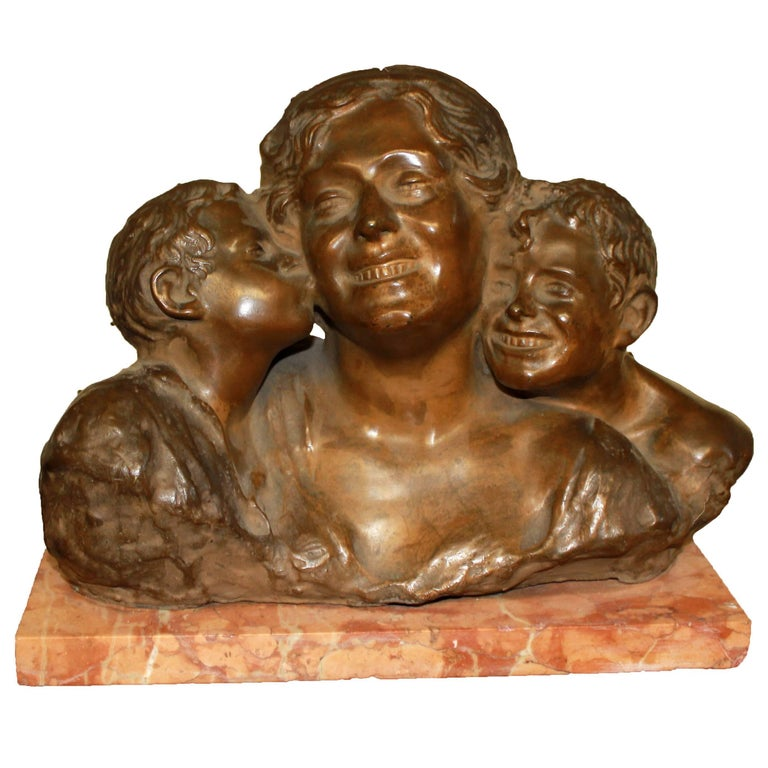 Early 20th Century Bronze and Marble Bust