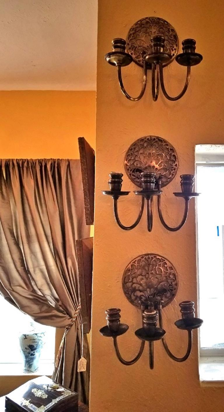 Early 20th Century Bronze Chandelier and Wall Light Set For Sale 4