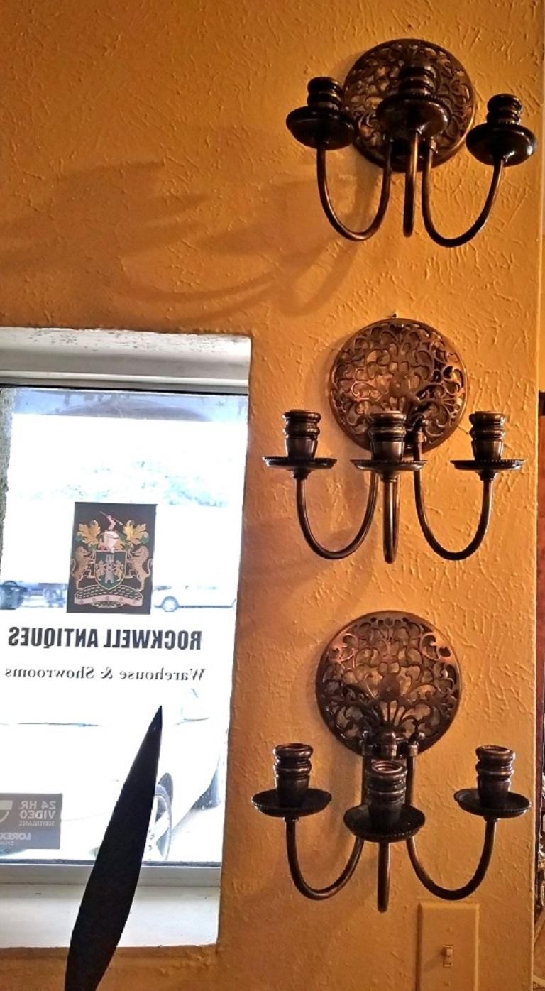 Early 20th Century Bronze Chandelier and Wall Light Set For Sale 5