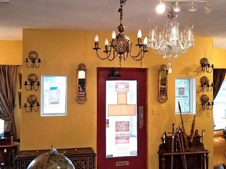 Hand-Crafted Early 20th Century Bronze Chandelier and Wall Light Set For Sale