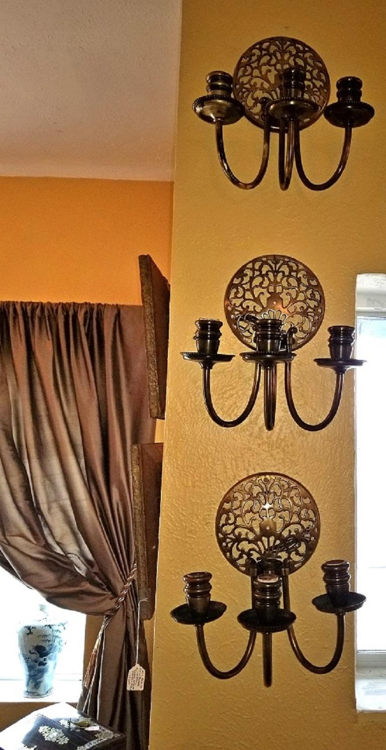 Early 20th Century Bronze Chandelier and Wall Light Set For Sale 3