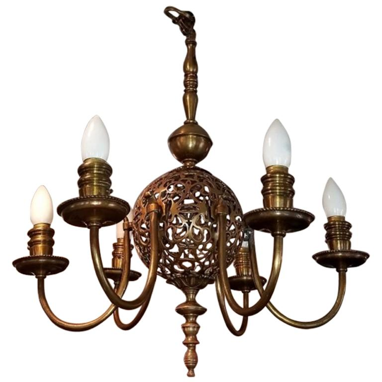 Early 20th Century Bronze Chandelier and Wall Light Set For Sale