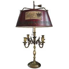 Early 20th Century Bronze Four-Arm Bouillotte Lamp with Decoupage Tole Shade