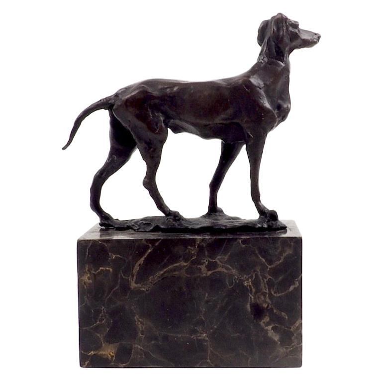 Early 20th Century Bronze Sculpture Gun Dog