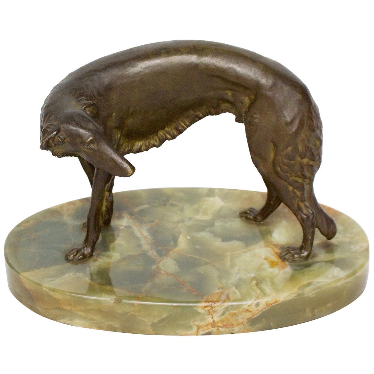 Early 20th Century Bronze Sculpture of a Borzoi Dog by Wilhelm Bormann