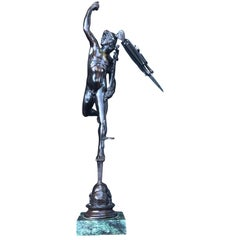 Early 20th Century Bronze Sculpture of Mercury on a Marble Stand