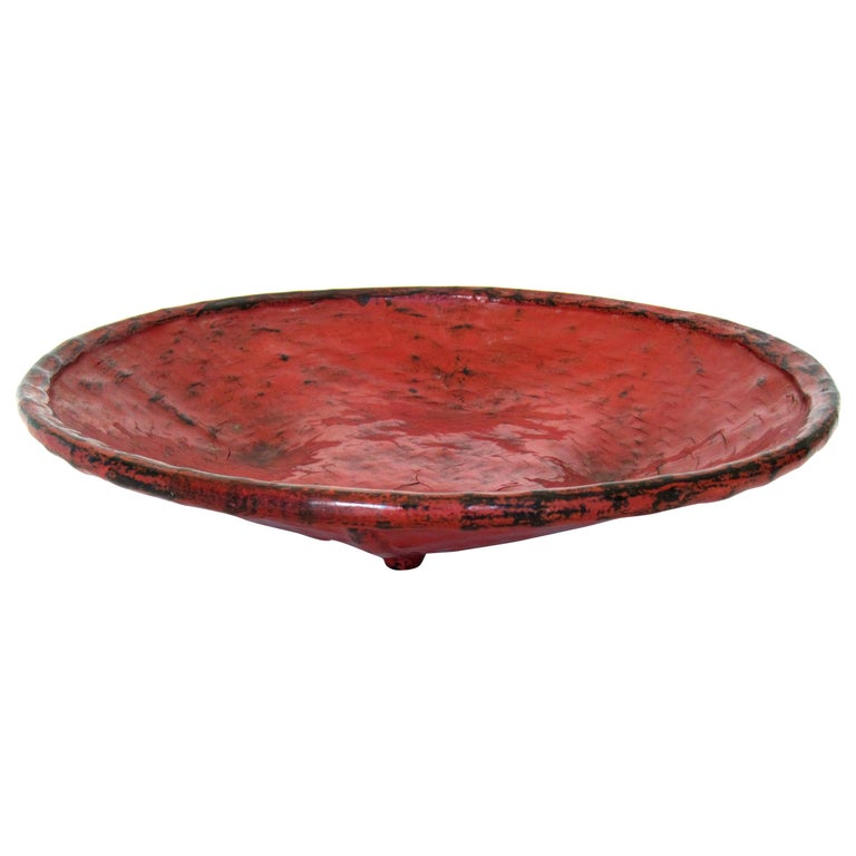 """Early 20th Century Burmese Lacquered Tray, """"Pagan Bya"""" For Sale"""