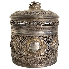 Early 20th Century Burmese Silver Repoussé Betel Box