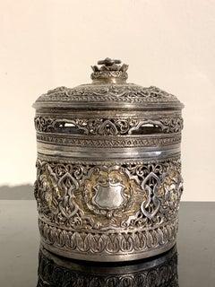 Early 20th Century Burmese Silver Repoussé Betel Box