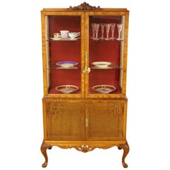 Early 20th Century Burr Walnut Queen Anne Style Display Cabinet