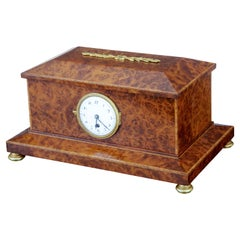Early 20th Century Burr Yew Cigar and Clock Box