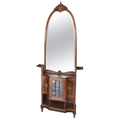 Early 20th Century Cabinet with Beveled Mirror Walnut