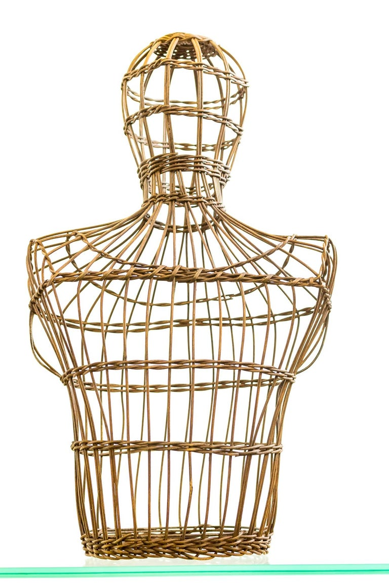 Hand-Woven Early 20th Century Cane Shop Display Mannequin Bust For Sale