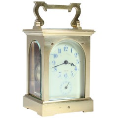 Early 20th Century Carriage, Travel Clock with Alarm, Signed Behrens Lübeck