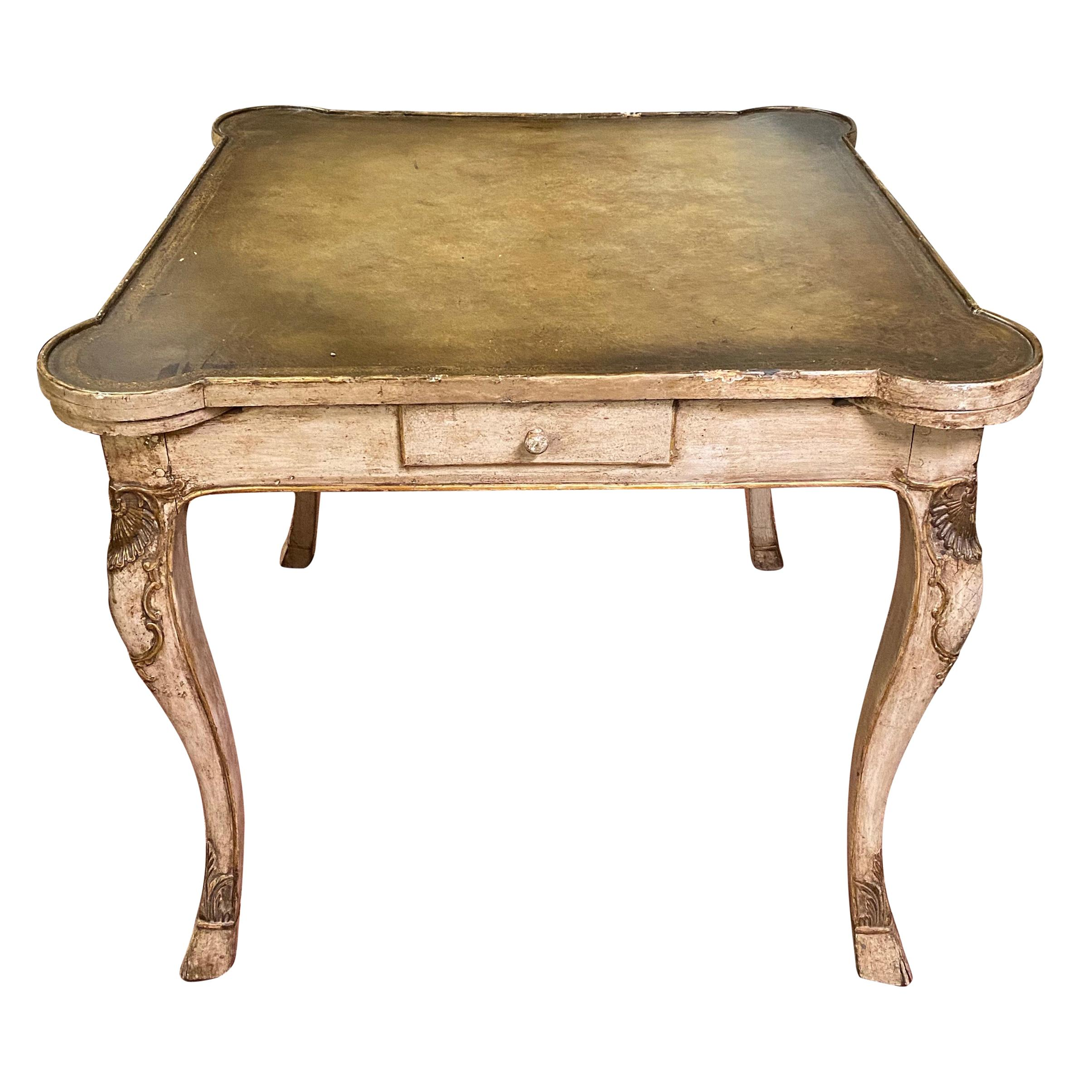 Early 20th Century Carved French Games Table with Leather Top