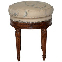 Early 20th Century Carved French Walnut Round Seat