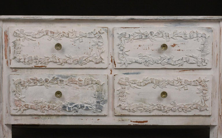Brass Italian Painted Chest of Drawers For Sale