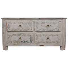 Early 20th Century Carved Italian Painted Chest of Drawers