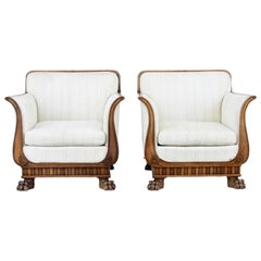 Early 20th Century Carved Mahogany Armchairs
