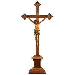 Early 20th Century Carved Oak Crucifix