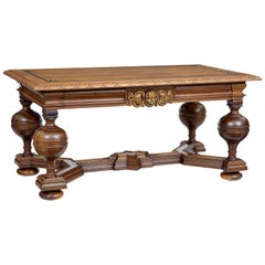 Early 20th Century Carved Oak Library Table by Lysberg Hansen Therp