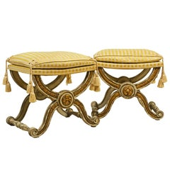Early 20th Century Carved Paint and Parcel Gilt Louis XVI Style Benches, a Pair