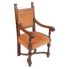 Early 20th Century Carved Renaissance Tuscany Throne Armchair, Wax-Polished