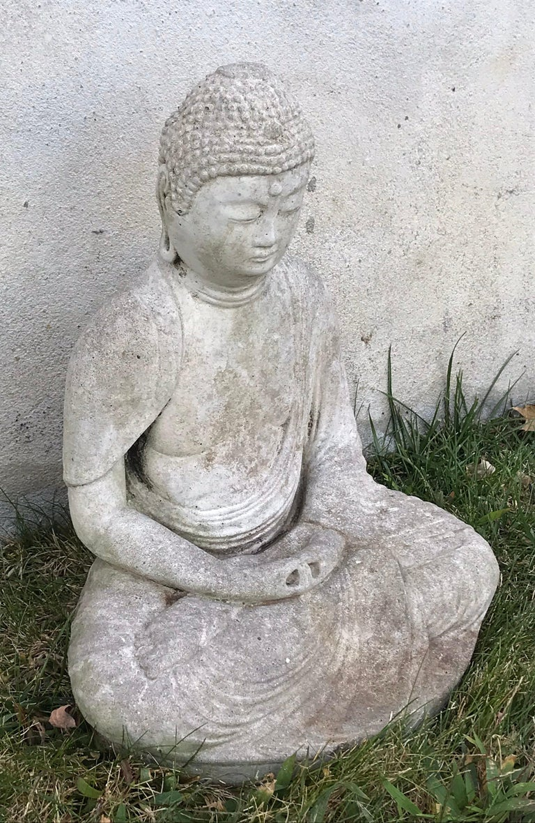 Very nice early 20th century carved stone seated Buddha, great for garden setting or indoors.