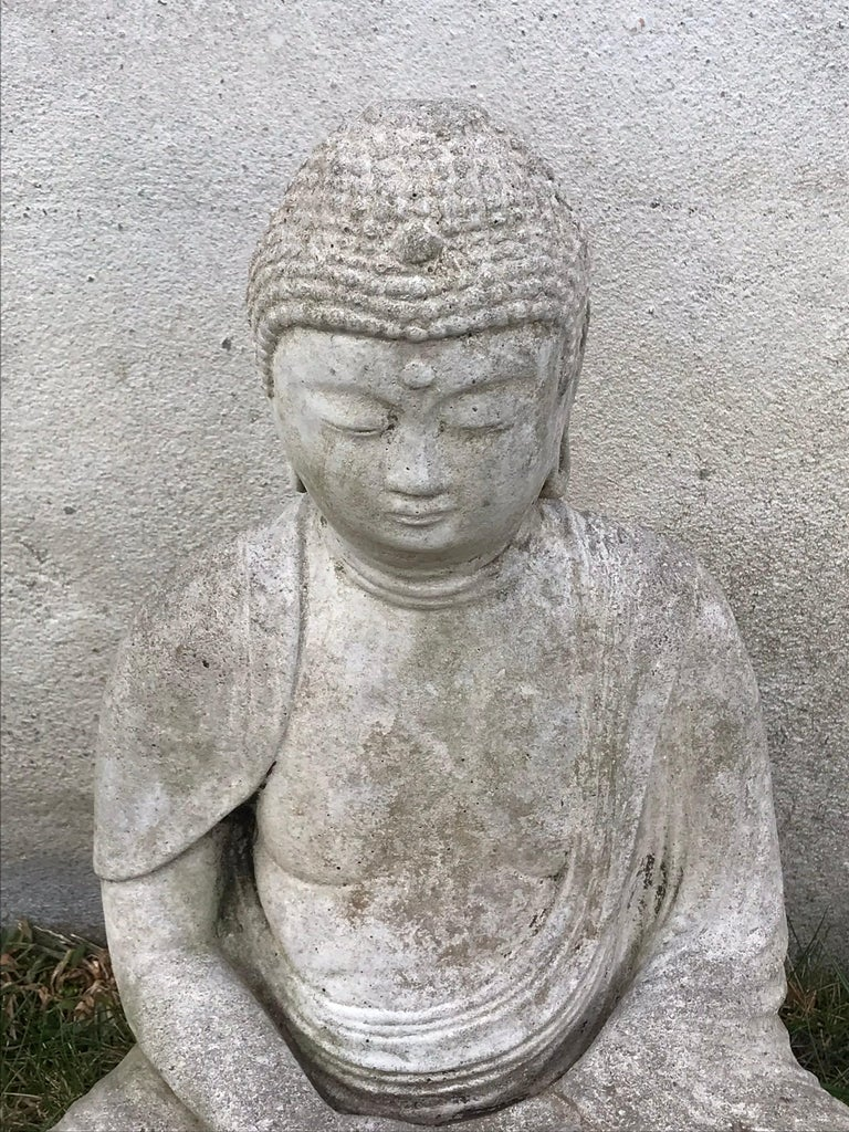 Early 20th Century Carved Stone Seated Buddha Sculpture In Good Condition For Sale In Bedford Hills, NY