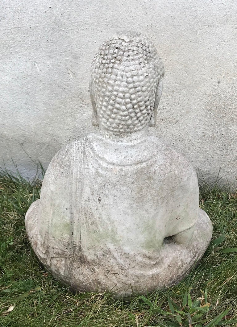Cast Stone Early 20th Century Carved Stone Seated Buddha Sculpture For Sale